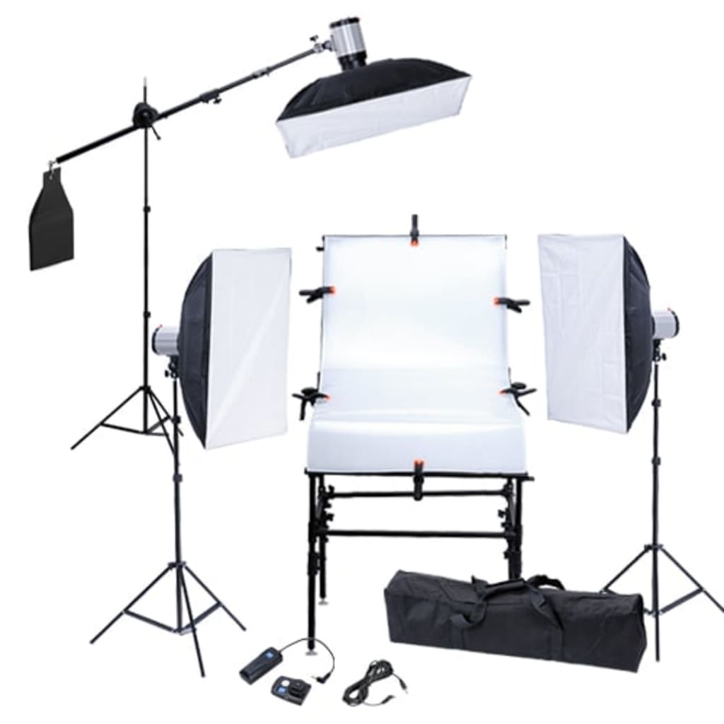 Kit studio masă foto, 3 softboxuri, 3 blitzuri și 3 trepiede imagine vidaxl.ro