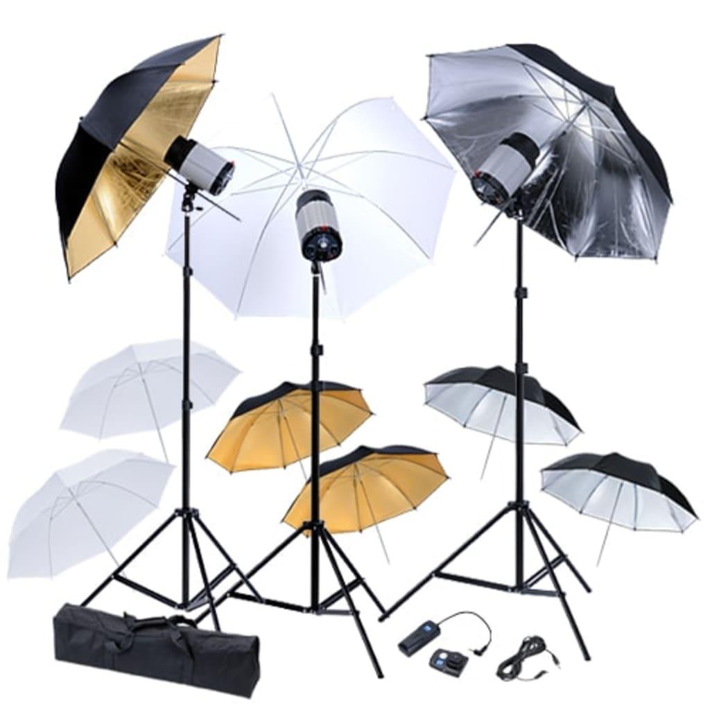 Studio Kit : 3 bleskové hlavice , 9 deštníky a 3 stativy
