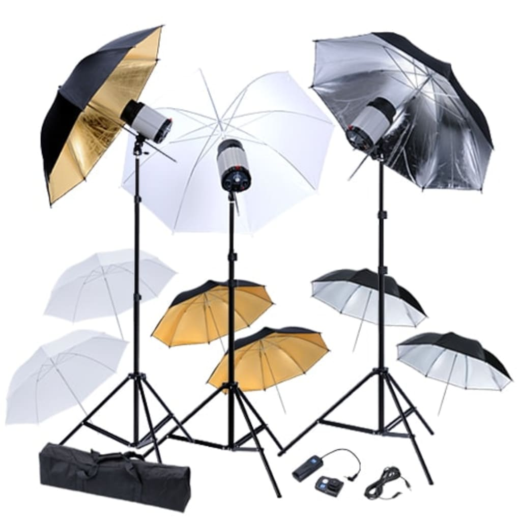 Kit studio 3 blițuri, 9 umbrele și 3 stative poza 2021 vidaXL
