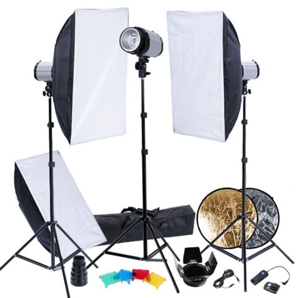 Set studio 3 blitzuri, softboxuri 50x70, trepiede și voleți vidaxl.ro