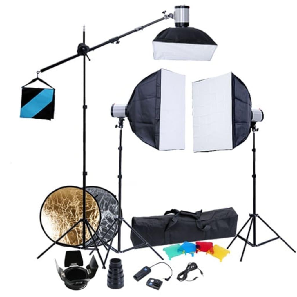 Afbeelding van vidaXL Fotostudio set 3 flitslampen softboxen 60x60 en statieven