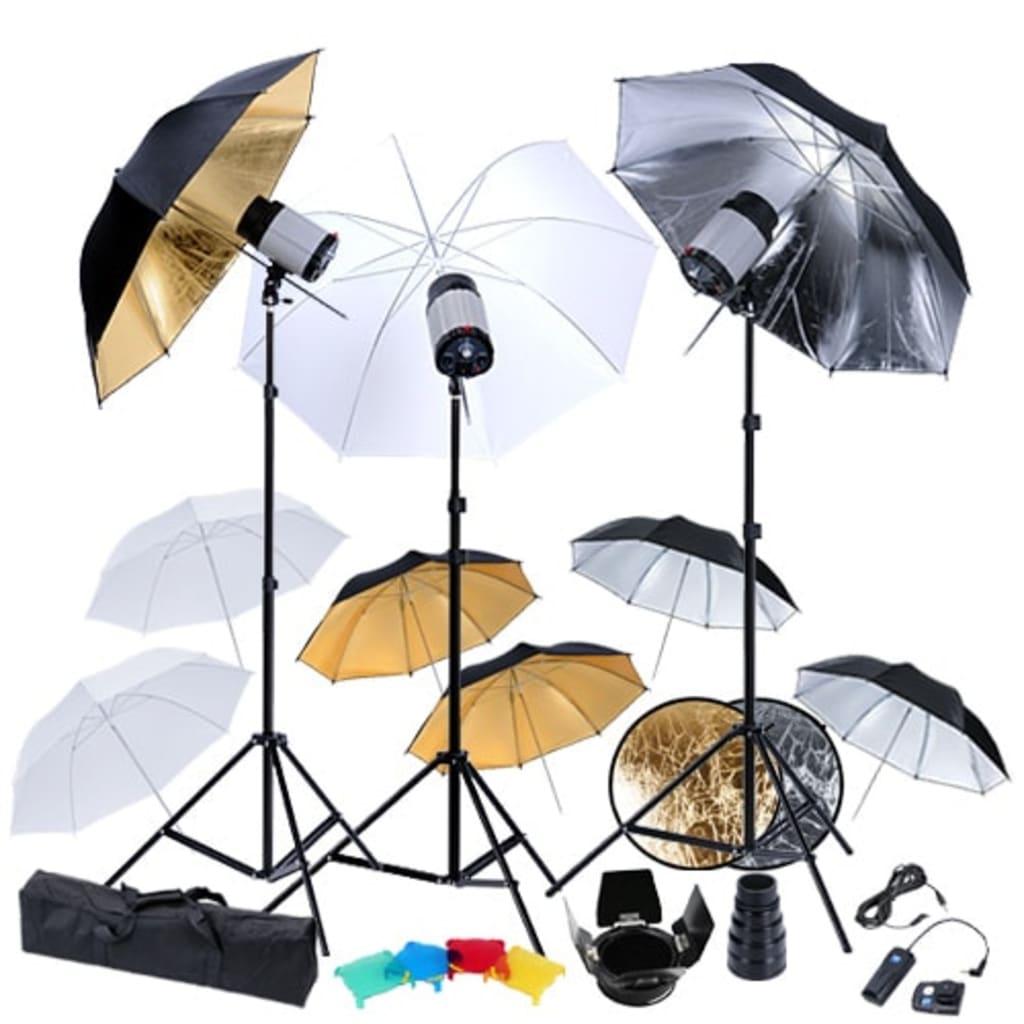 Studio set: 3 bleskové hlavy, 9 deštníků, stativy a reflektor