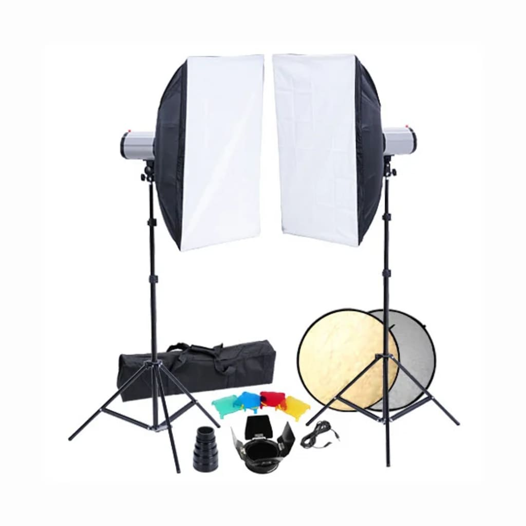 vidaXL Set studio: 2 capete bliț, 2 softbox-uri și 2 trepiede imagine vidaxl.ro