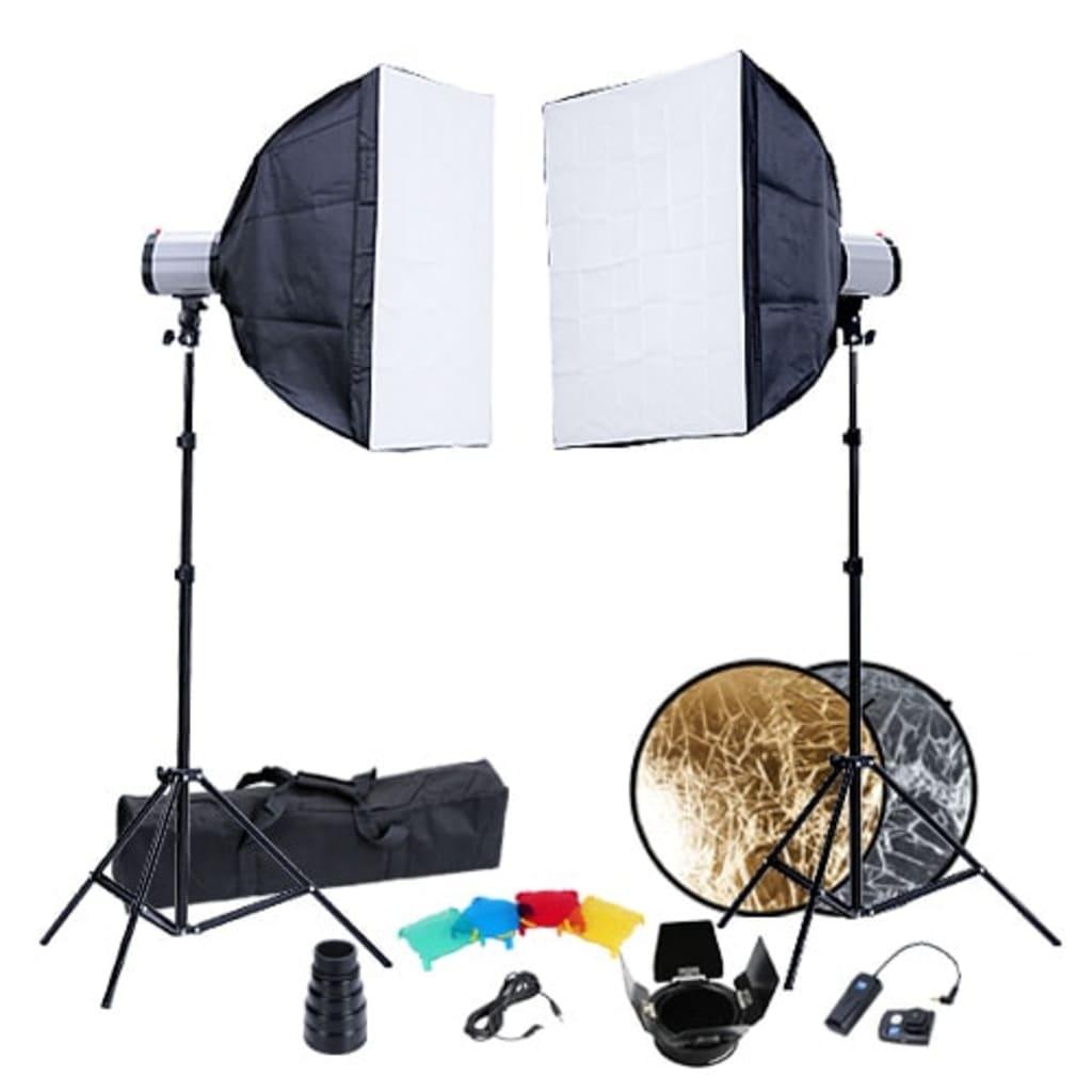 Afbeelding van vidaXL Fotostudio set 2x flitskop softbox 60x60 statieven