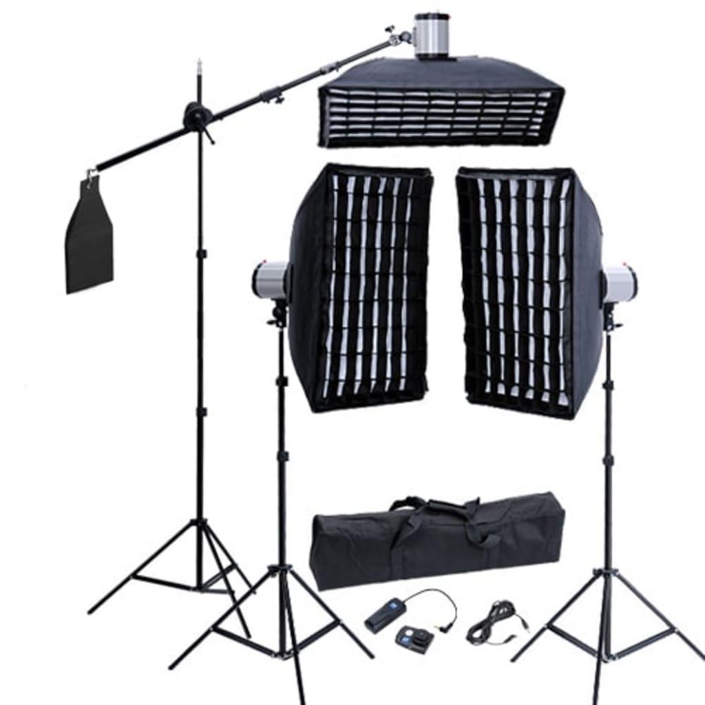 Afbeelding van vidaXL Fotostudio set 3 flitskoppen en grid softboxen
