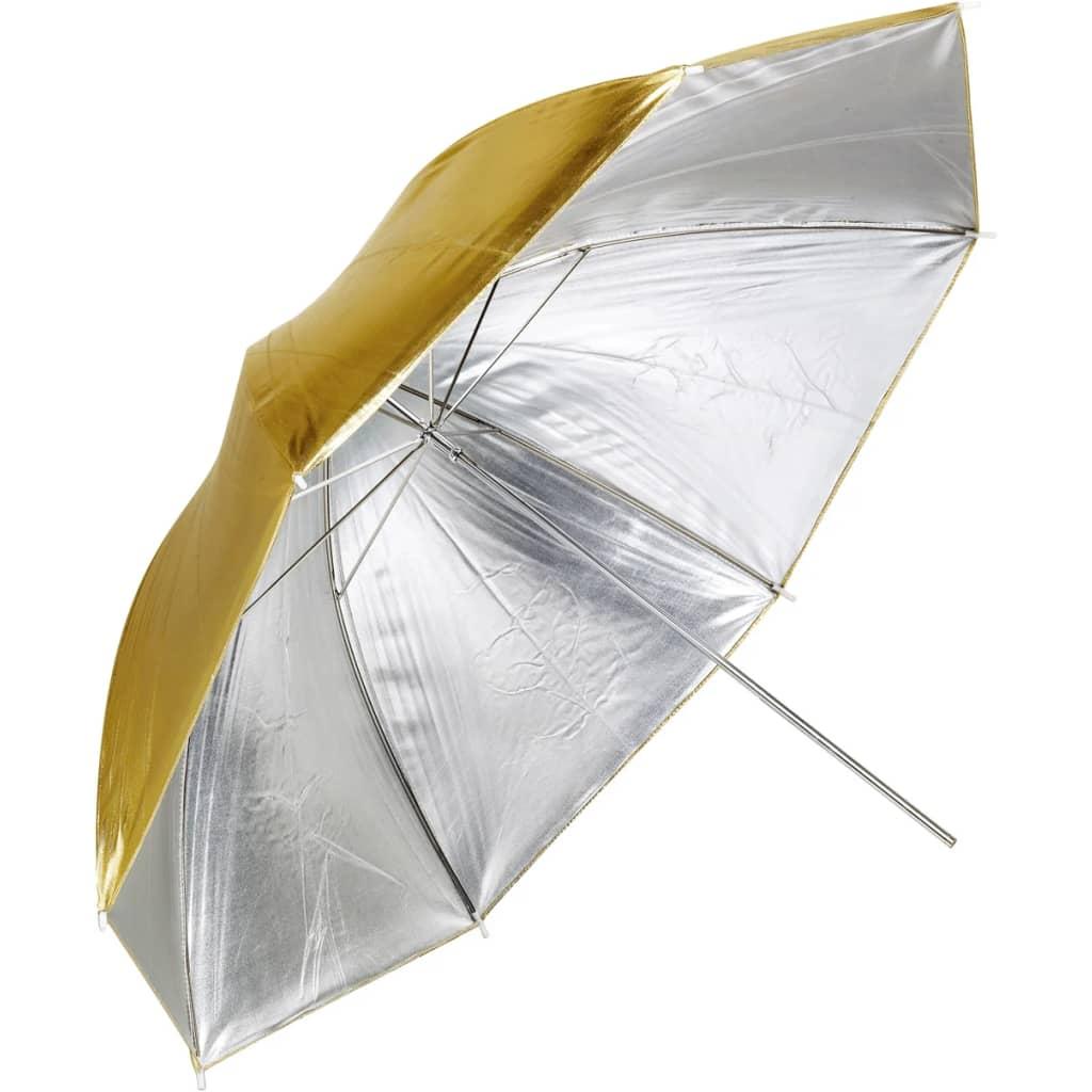 Afbeelding van vidaXL Flitsparaplu zilver/goud Ø 109 cm