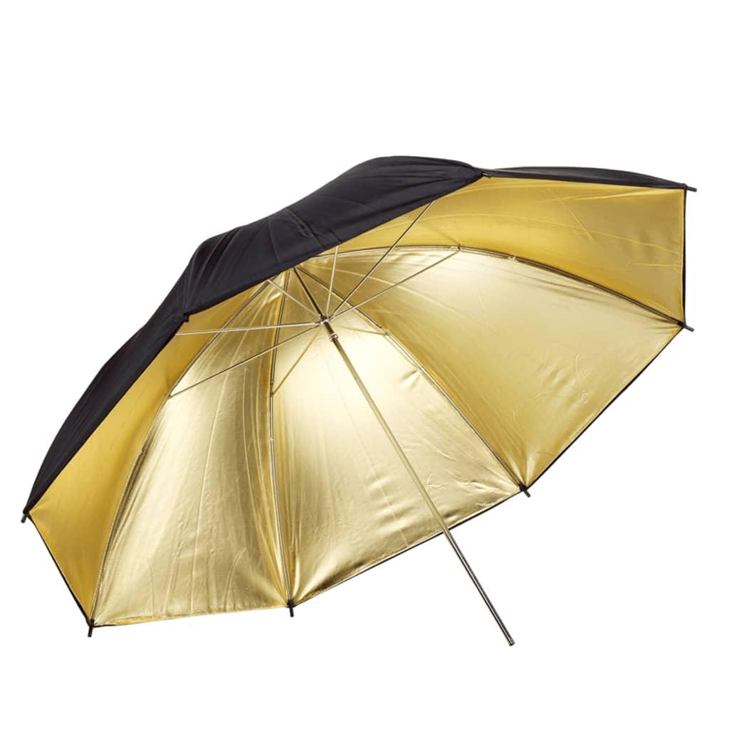 Afbeelding van vidaXL Flitsparaplu goud/zwart Ø 84 cm