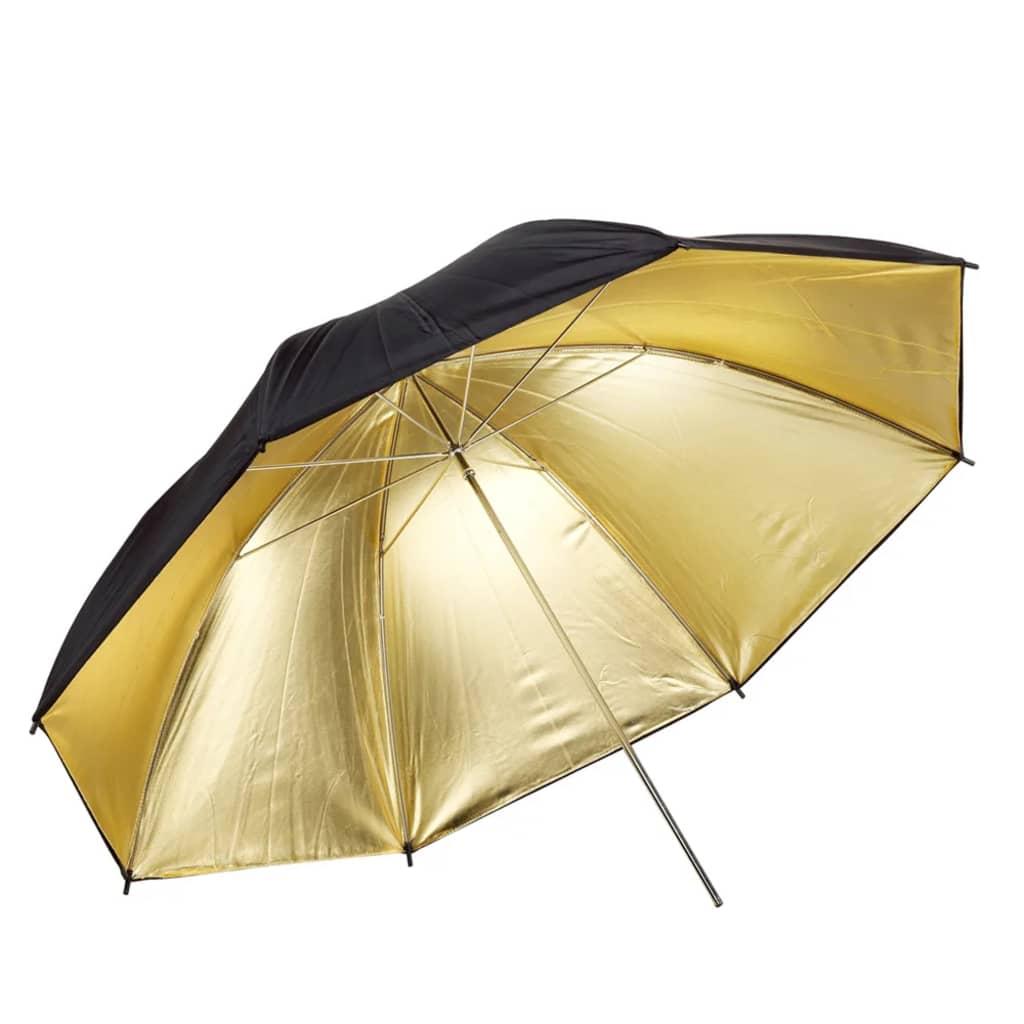 Afbeelding van vidaXL Flitsparaplu goud/zwart Ø 109 cm