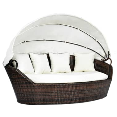 vidaxl sonneninsel mit dach braun poly rattan g nstig kaufen. Black Bedroom Furniture Sets. Home Design Ideas