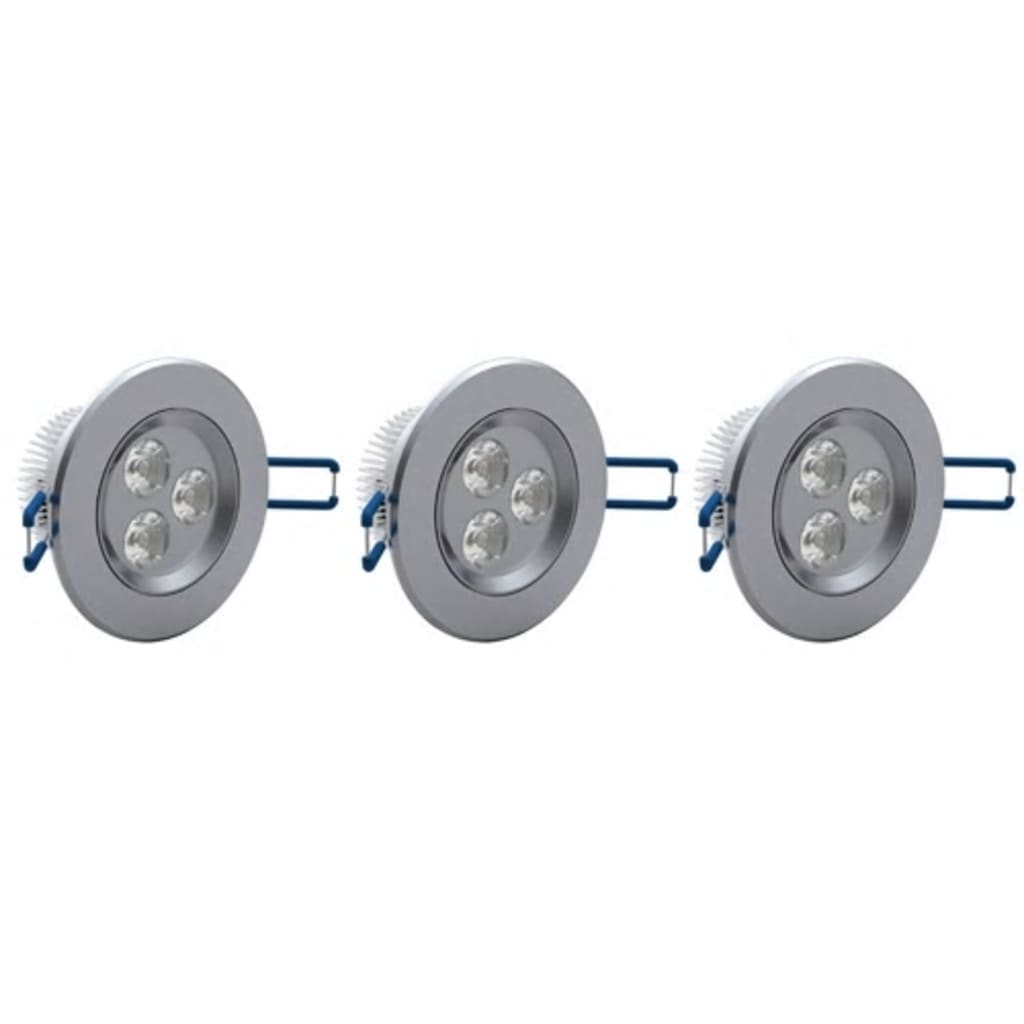 Set 3 spoturi cu LED 3 W diametrul 9 cm imagine vidaxl.ro