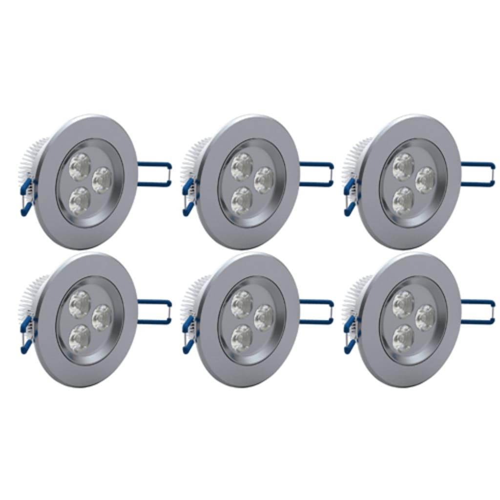 Sada 6 ks LED bodových svítidel - 9 cm / 3 W