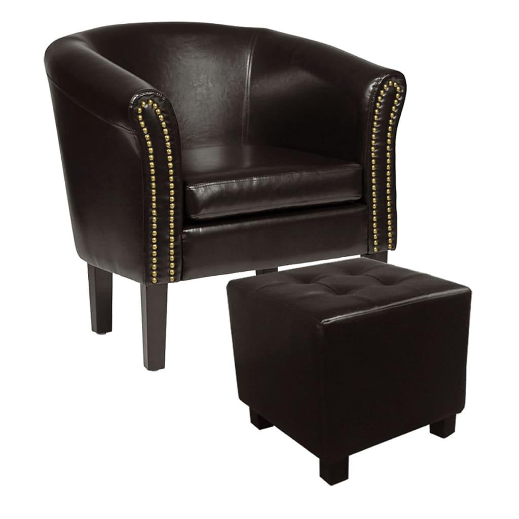 Afbeelding van vidaXL Chesterfield stoel met hocker oudbruin