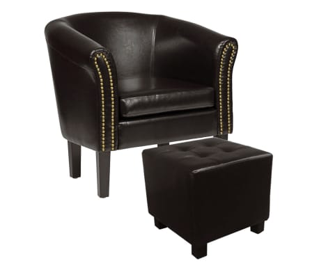 vidaxl chesterfield sessel mit fu hocker kunstleder antik braun g nstig kaufen. Black Bedroom Furniture Sets. Home Design Ideas