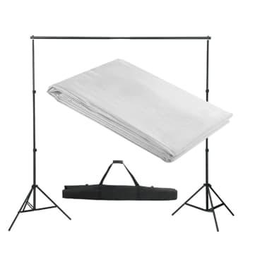 vidaXL Système de support de toile de fond 300 x 300 cm Blanc[1/4]