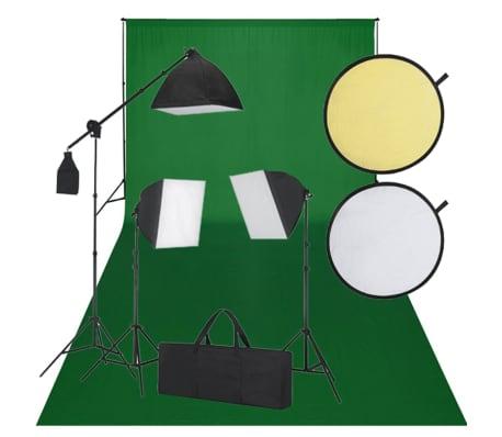 Kit Photo 3 Softbox Fond vert et Réflecteur[1/8]