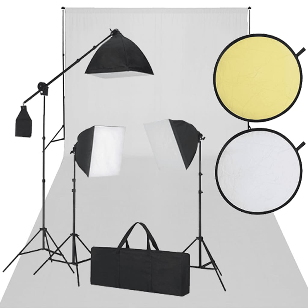 Set Studio: Fundal alb 3 Becuri Lumina zilei şi Reflector poza 2021 vidaXL