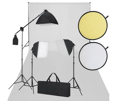 Rinkinys fotostudijai: baltas fonas, 3 šviestuvai ir reflektorius