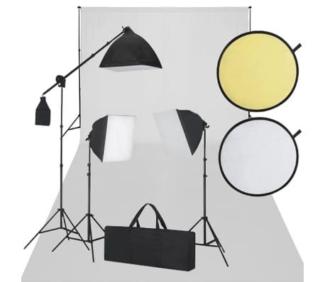 vidaXL Conjunto para Estudio de Fotografía con Luces Fondo y Trípodes Blanco