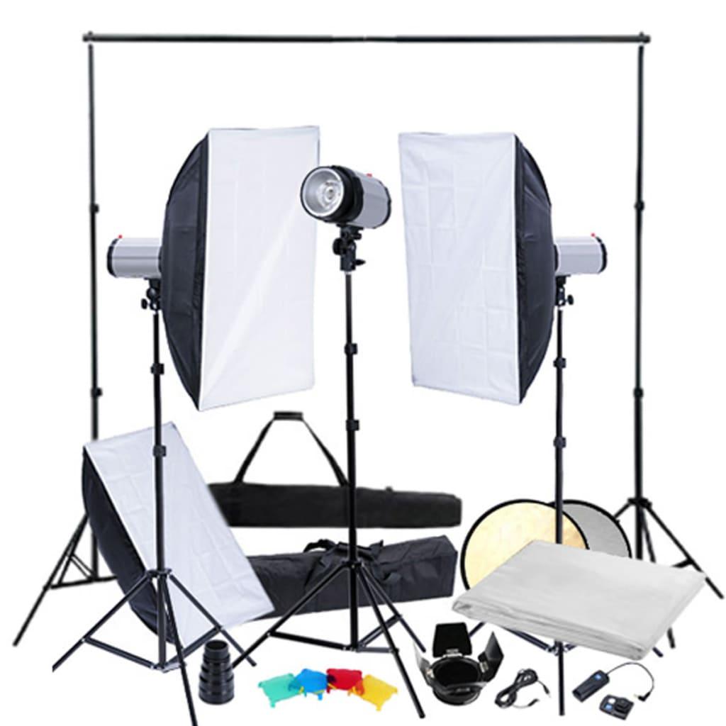 vidaXL Kit studio foto, softbox-uri & trepiede, 3 capete de bliț vidaxl.ro