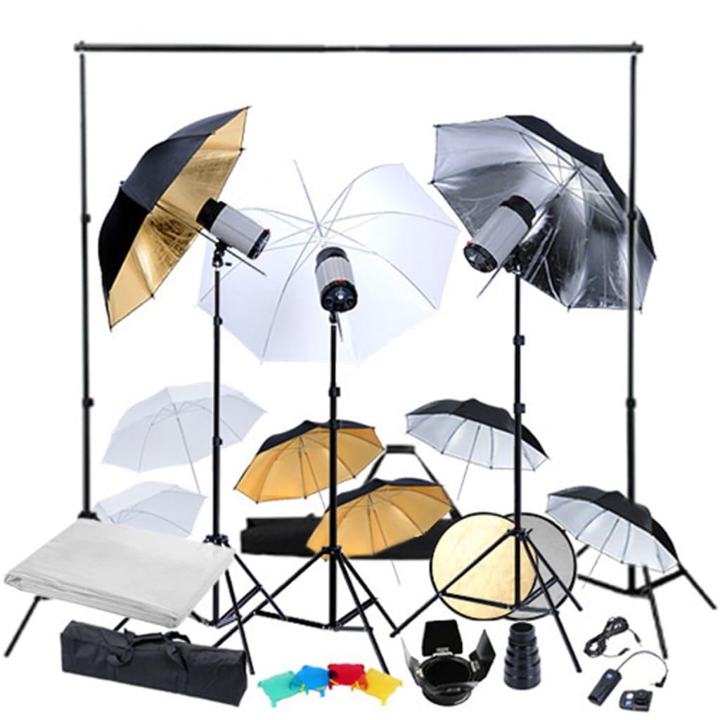 Studiová sada 3 zábleskové hlavy+stativy, 9 studiových deštníků