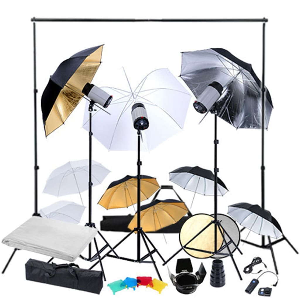 vidaXL Kit studio foto, 3 capete de bliț & 9 umbrele de bliț vidaxl.ro