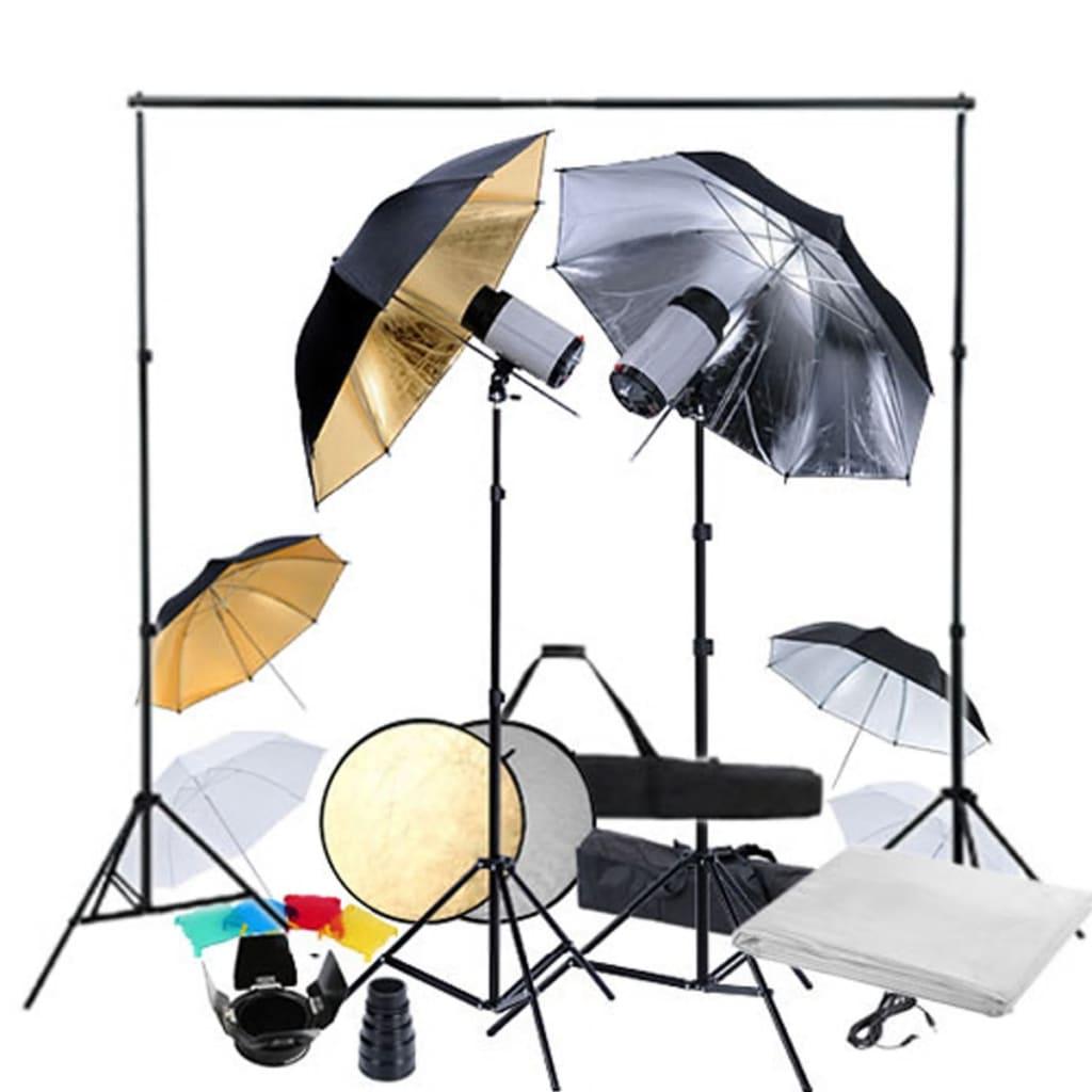 vidaXL Kit studio foto, 2 capete de bliț, 6 umbrele de bliț vidaxl.ro