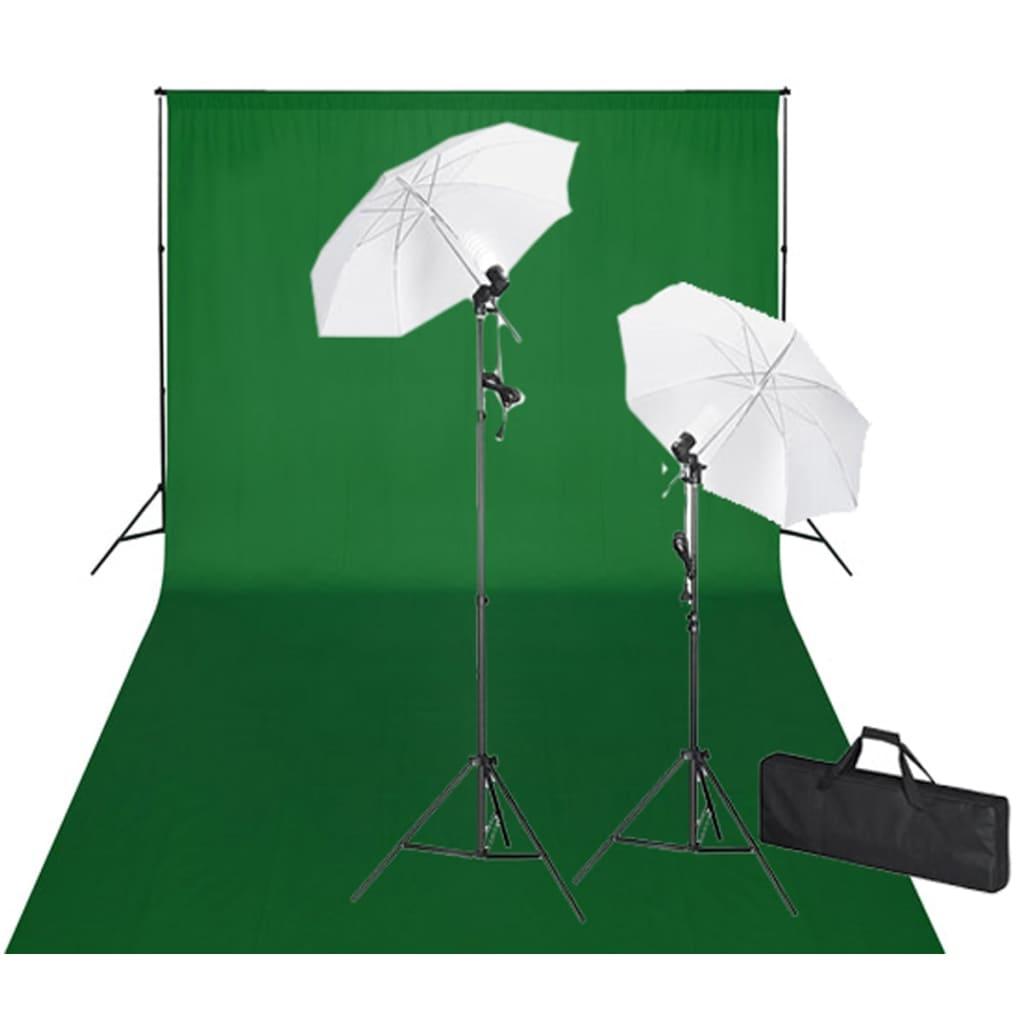 vidaXL Kit studio foto, fundal verde, 600 x 300 & lumini poza 2021 vidaXL