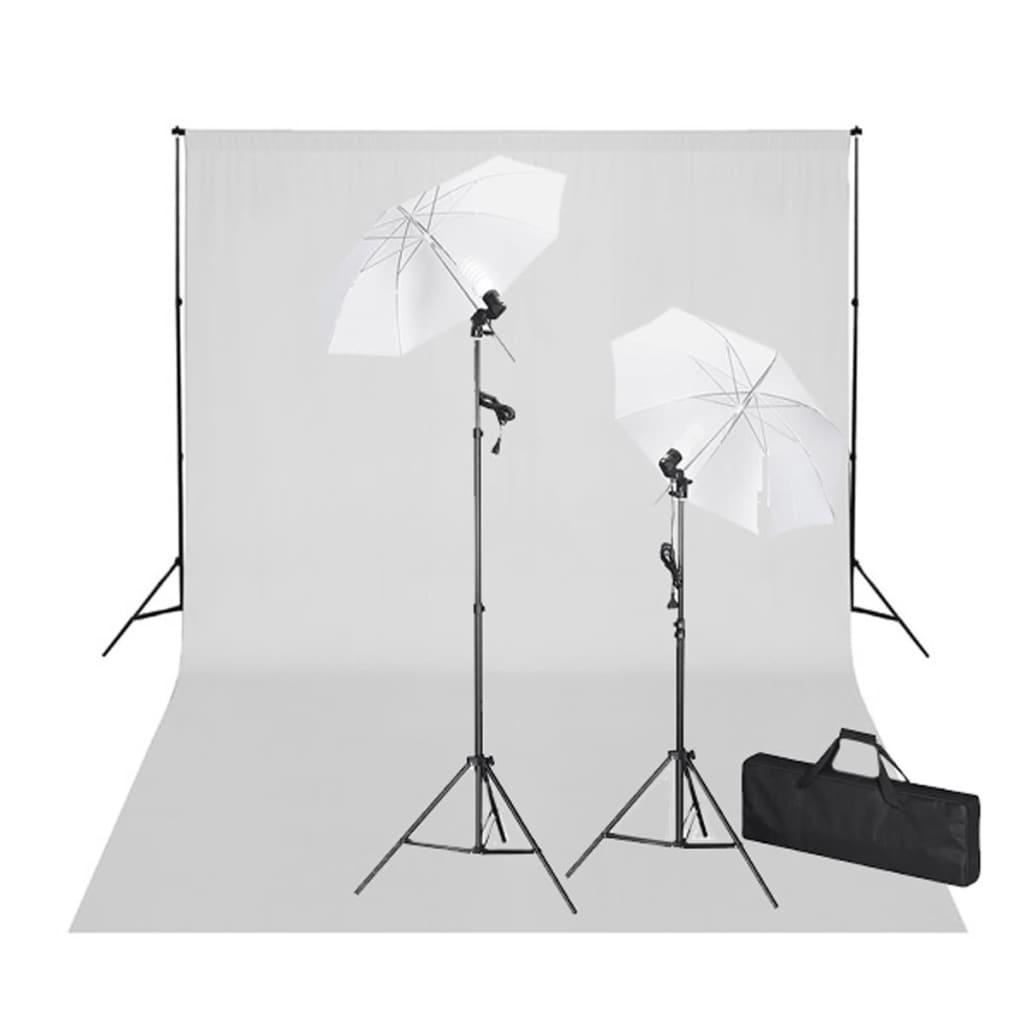 vidaXL Fotostudio kit vit bakgrund 600 x 300 cm & lampor[1/9]