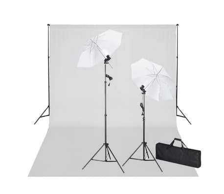 vidaXL Σετ Studio: Σύστημα Φόντου Λευκό 600 x 300 εκ. & Φωτισμός[1/9]