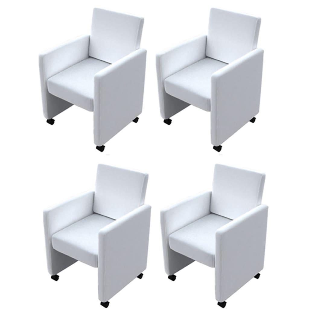 vidaXL Καρέκλες Τραπεζαρίας 4 τεμ. Λευκές από Συνθετικό Δέρμα