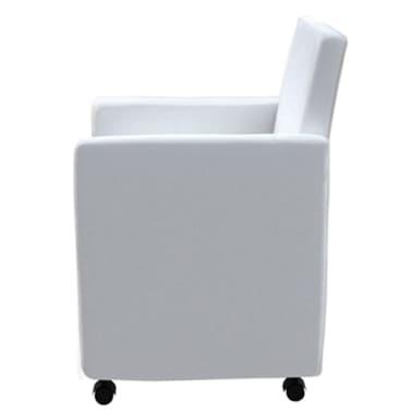 Eetkamerstoelen Wit Op Wieltjes.Vidaxl Eetkamerstoelen Met Wieltjes Kunstleer Wit 6 St