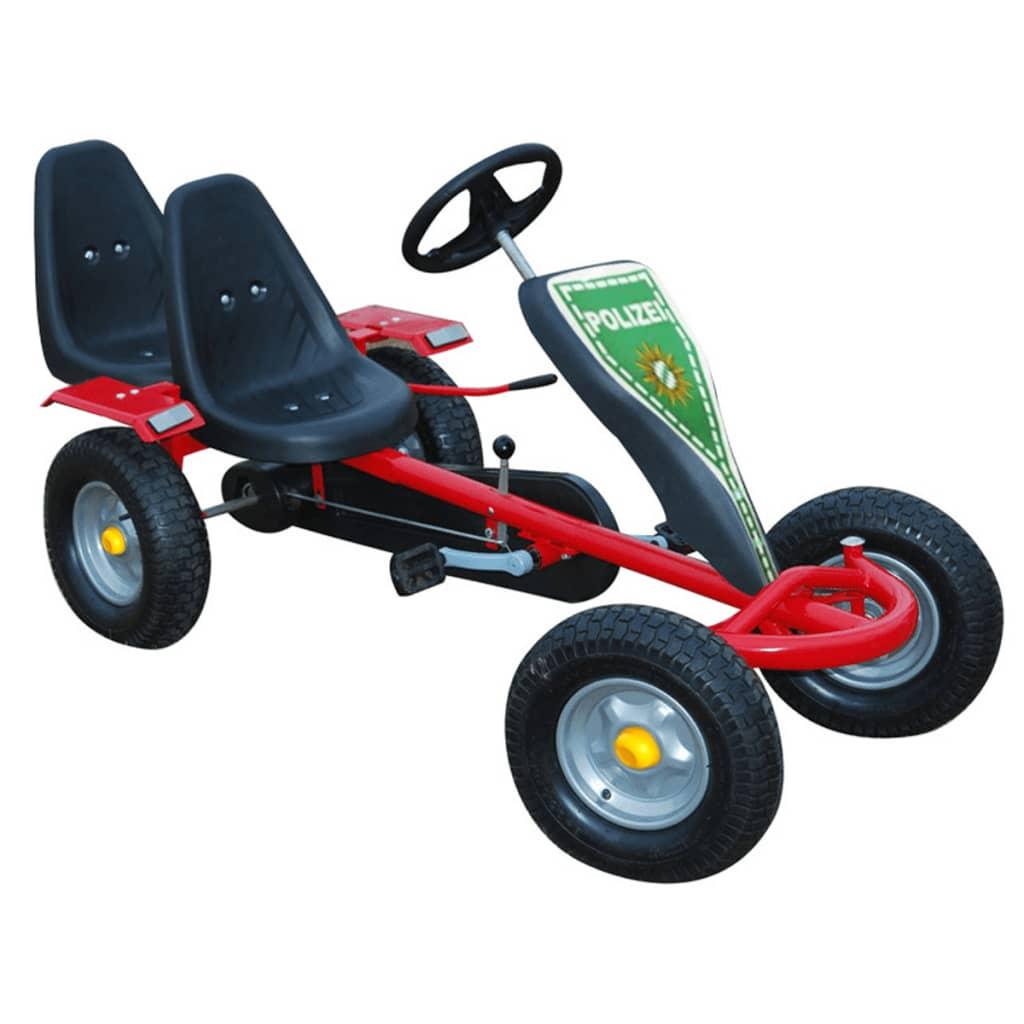 Kart pentru copii cu pedale, două locuri și 2 autocolante, Roșu poza 2021 vidaXL