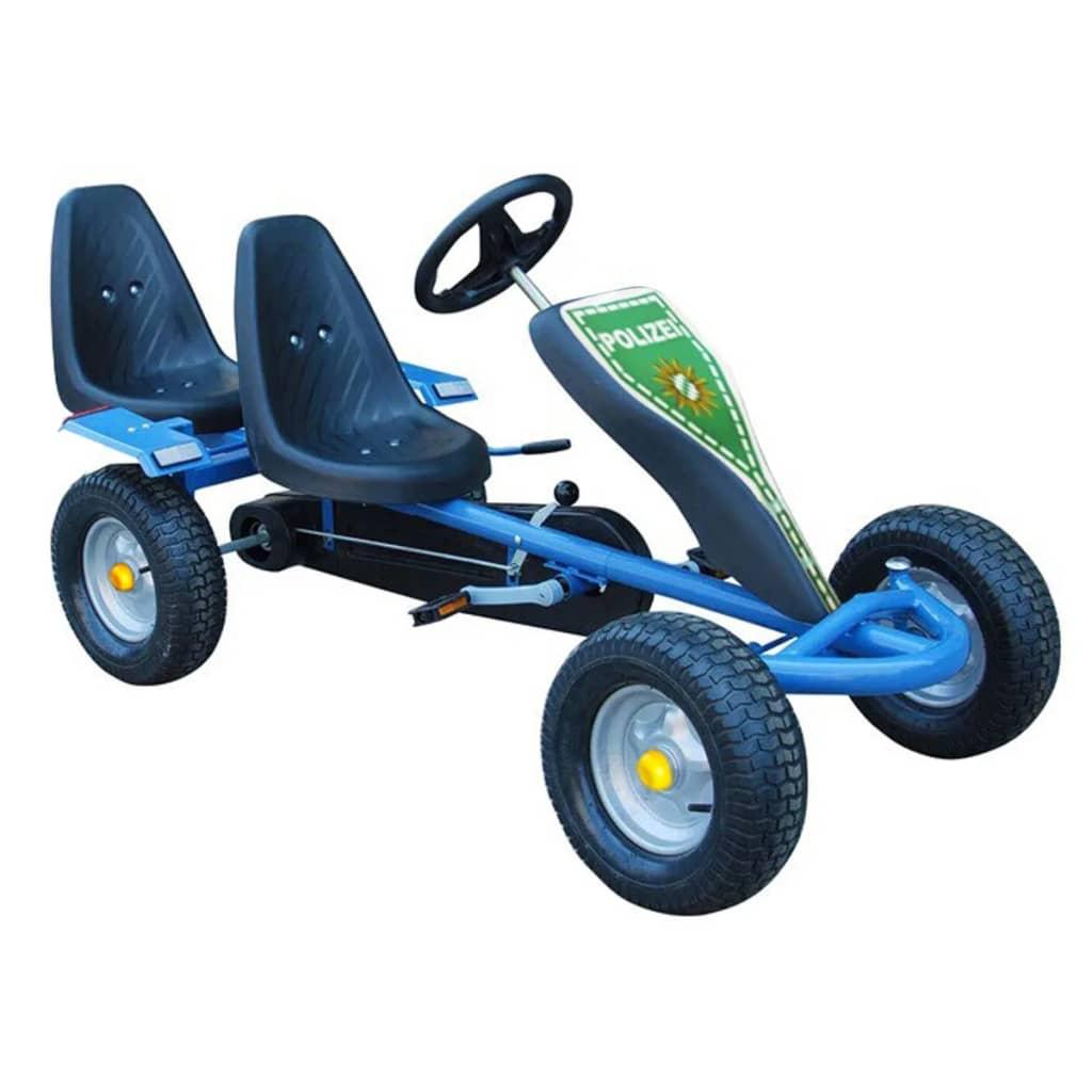 Kart pentru copii cu pedale, două locuri și 2 autocolante, Albastru vidaxl.ro