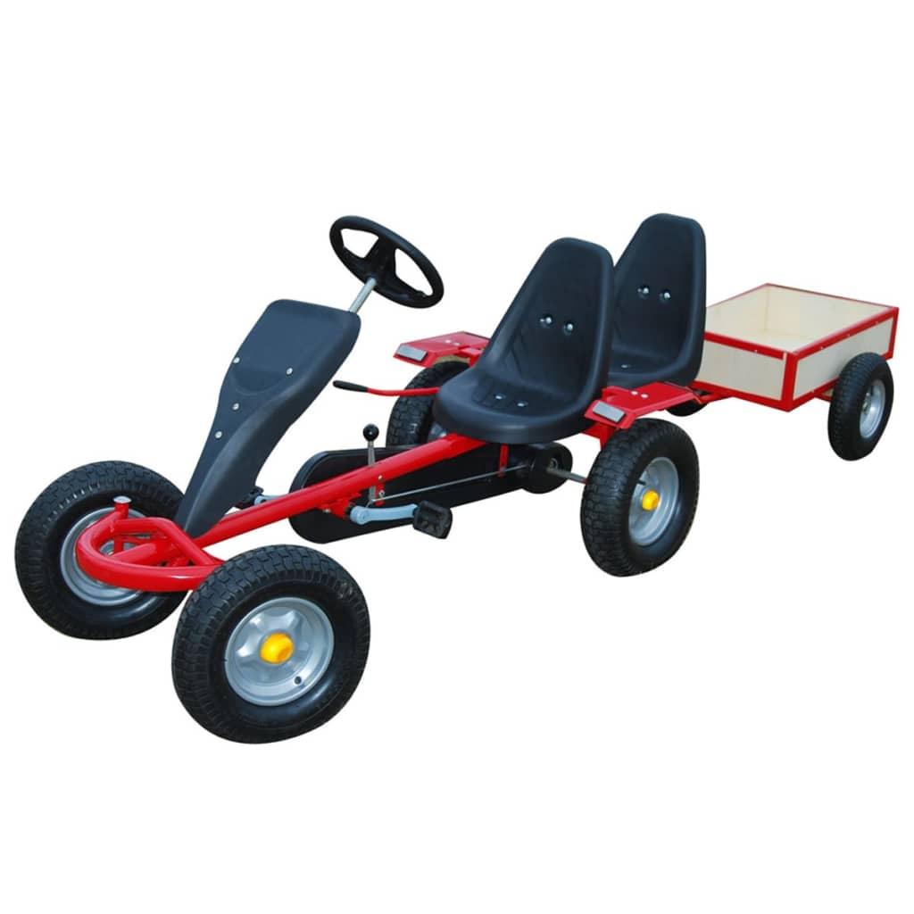 Kart pentru copii cu 2 scaune și remorcă Roșu poza 2021 vidaXL