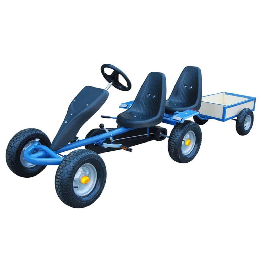 Kart pentru copii cu 2 locuri și remorcă Albastru poza 2021 vidaXL