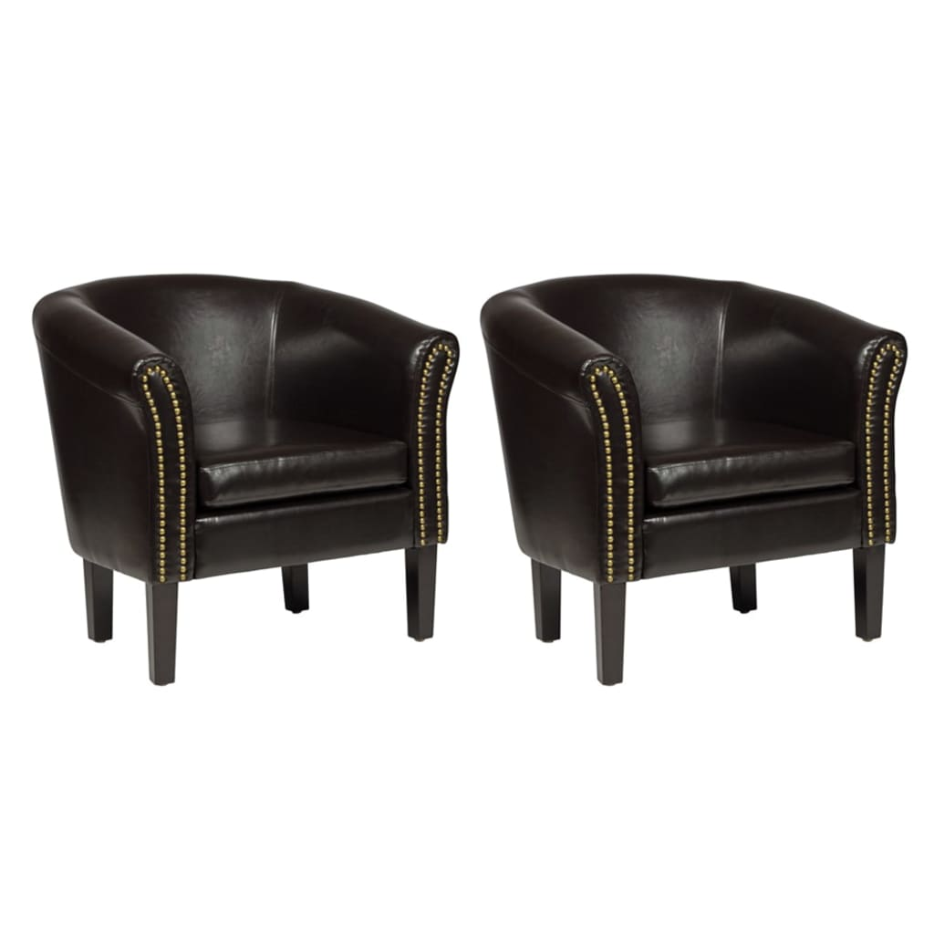 Afbeelding van vidaXL Chesterfield stoelen bruin (set van 2)