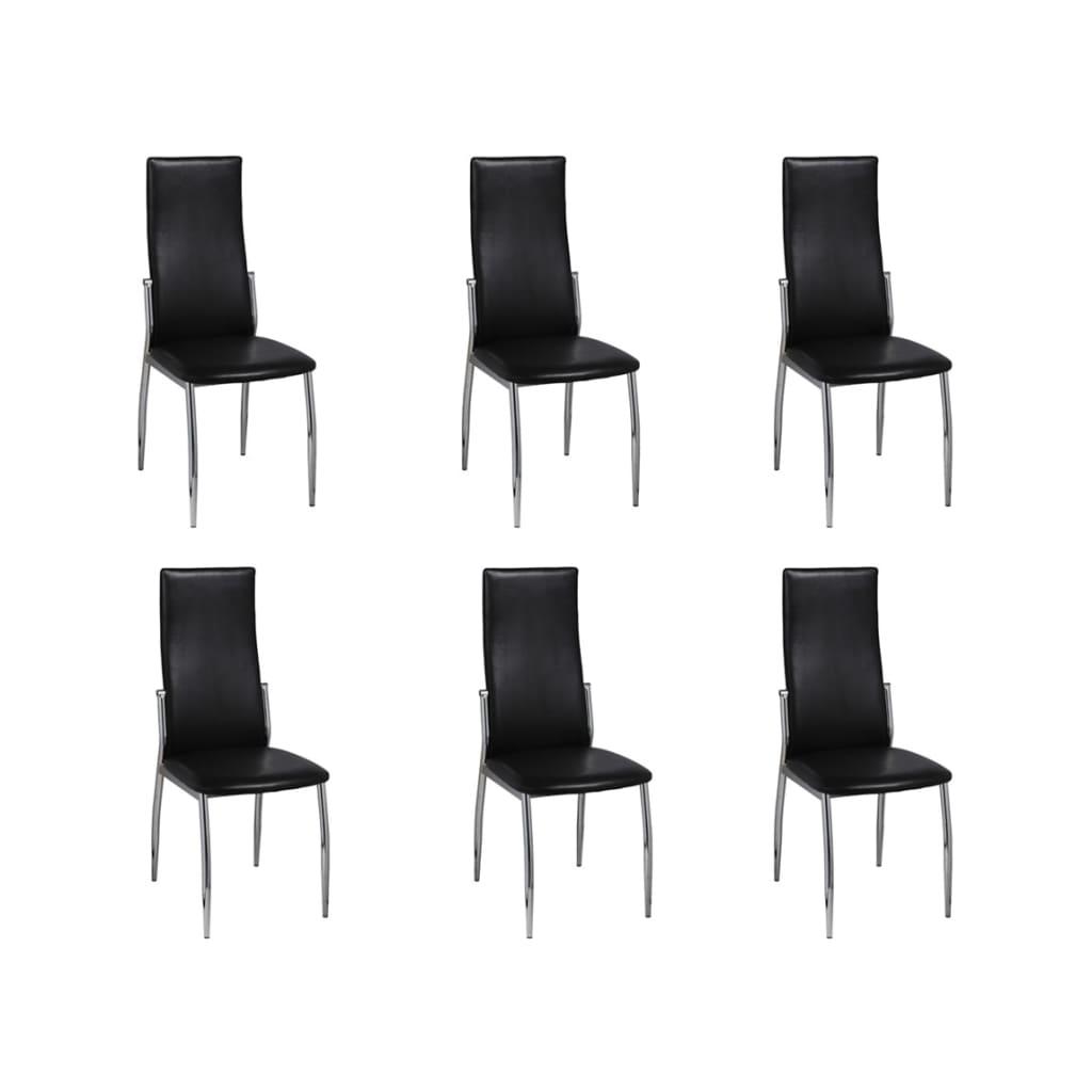 6 jídelních židlí chrom černá kůže