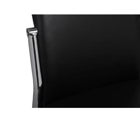 Valgomojo kėdės 6 vnt., chromas ir juoda oda[6/7]