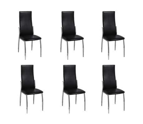 esszimmer st hle 6er set schwarz chrom kunstleder g nstig kaufen. Black Bedroom Furniture Sets. Home Design Ideas