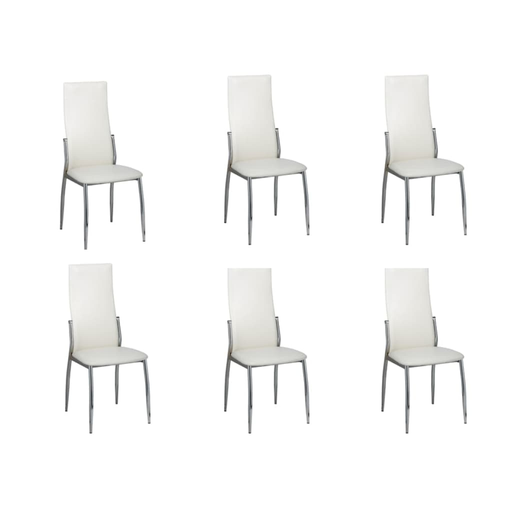 vidaXL Καρέκλες Τραπεζαρίας 6 τεμ. Λευκές Δερματίνη Χρώμιο