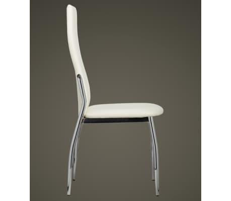 Valgomojo kėdės, 6 vnt., chromas ir balta oda[4/7]