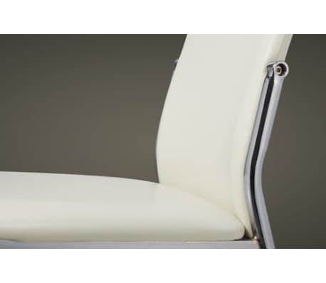 Valgomojo kėdės, 6 vnt., chromas ir balta oda[5/7]