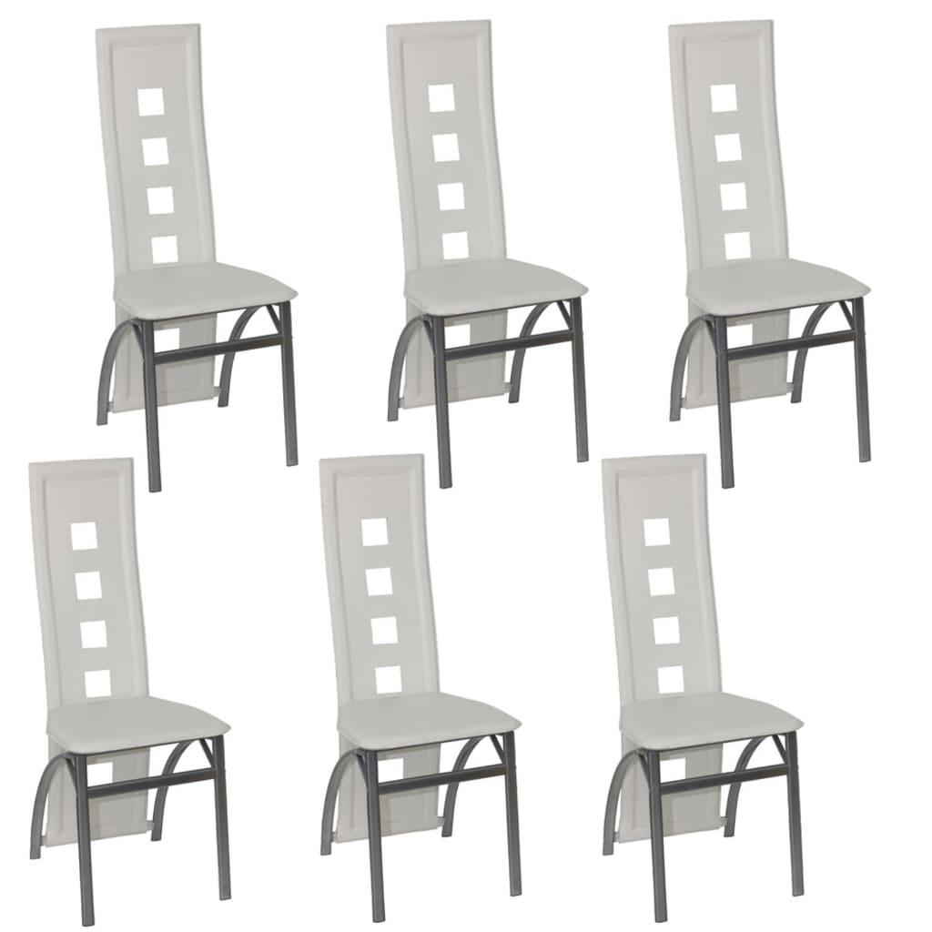 6 jídelních židlí ocelových bílých