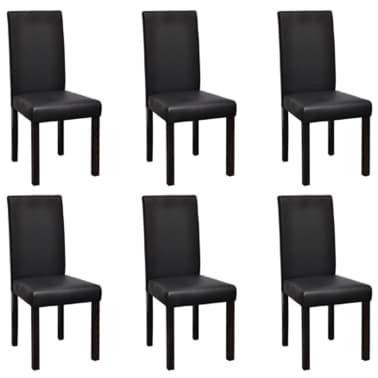 vidaXL Valgomojo kėdės, 6 vnt., dirbtinė oda, juodos[1/6]