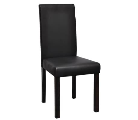 vidaXL Valgomojo kėdės, 6 vnt., dirbtinė oda, juodos[2/6]
