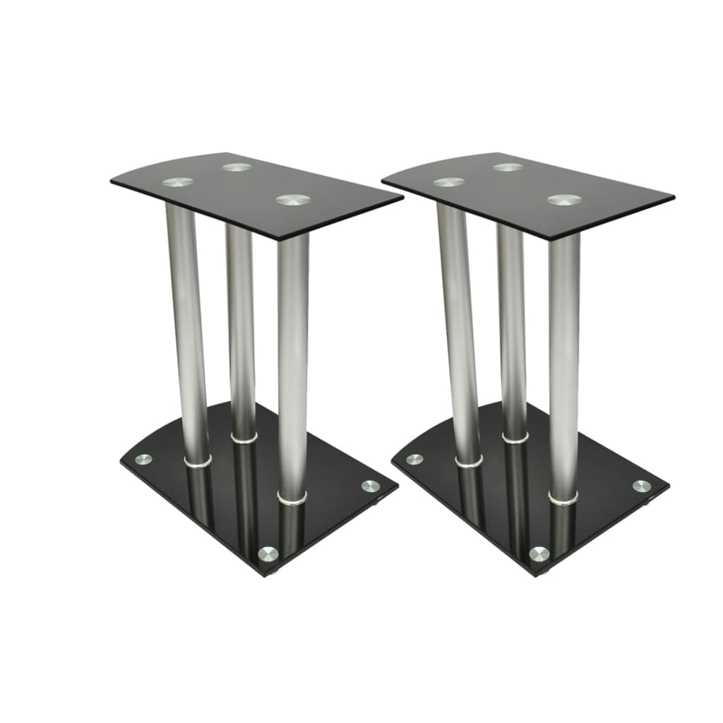 vidaXL Aluminum Speaker Stands Black Glass 2pcs