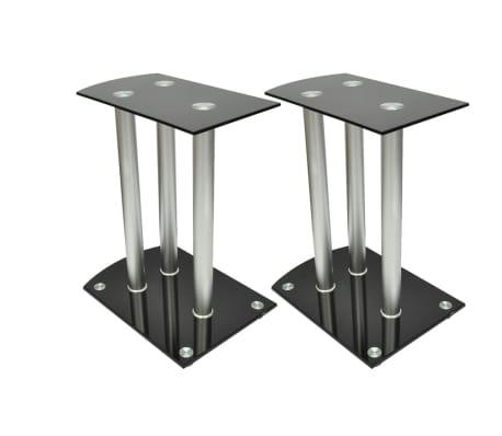 Aluminum Speaker Stands 2 pcs Black Glass[1/6]