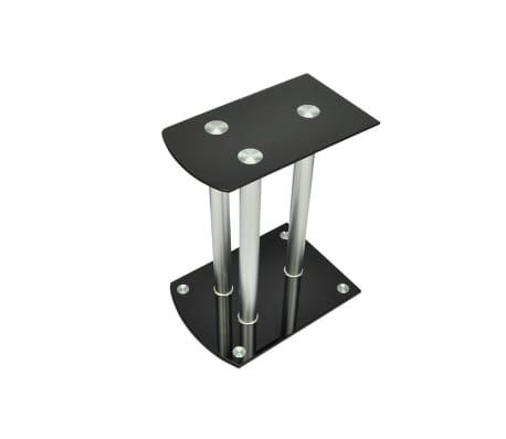 Aluminum Speaker Stands 2 pcs Black Glass[2/6]