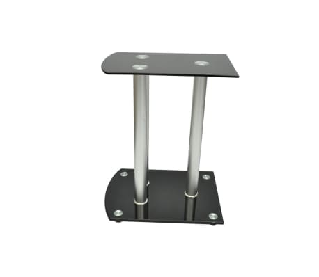 Aluminum Speaker Stands 2 pcs Black Glass[3/6]
