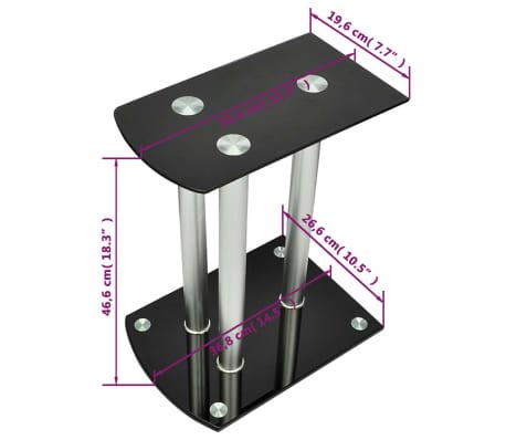Aluminum Speaker Stands 2 pcs Black Glass[6/6]